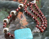 Turquoise, Silver and Wooden Beaded Necklace from Beads for Busy Gals