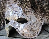 Ornate Silver Venetian mask with brown and white feathers, Marqueza