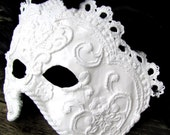 White, Black masquerade mask in ornate Venetian style , Domino