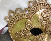 Adult mask Gold Venetian masquerade, with white feathers, Marchioness