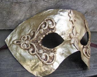 Gold Venetian mask for masquerade, Starlet