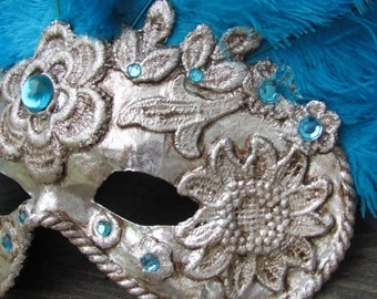 Adult costume mask Silver Venetian carnival mask with teal blue feathers, Sky