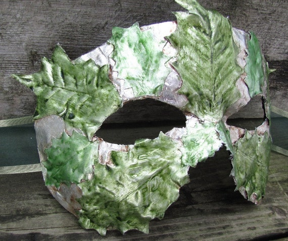 Silver masquerade mask with green leaves , Silver Holly King
