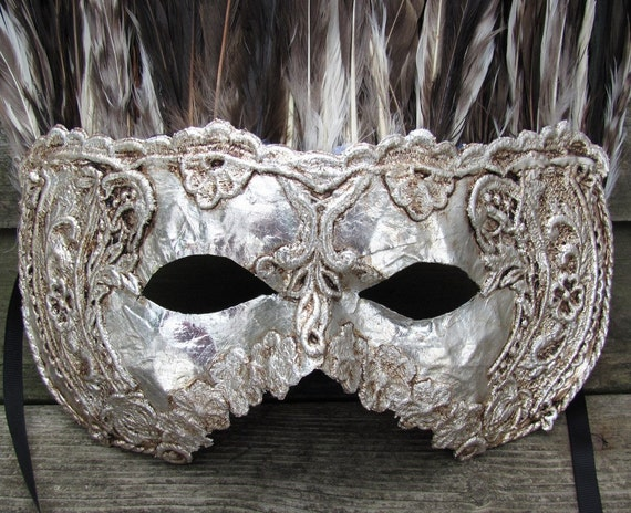 Large mans silver Venetian masquerade mask with feathers, Forte