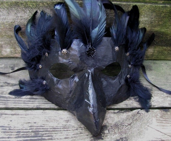 Raven masquerade mask with black feathers, Midnight