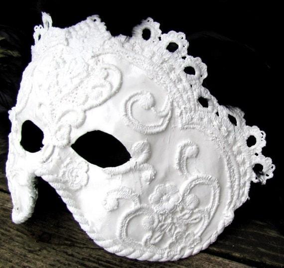 White, Black masquerade mask in ornate Venetian style , Domino