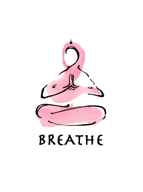 yoga art watercolor print - BREATHE