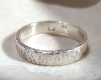 4mm Wedding Band Hammered Finish Sterling Silver RF297