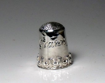 Thimble in Sterling Silver with Hand Engraved Name RF792