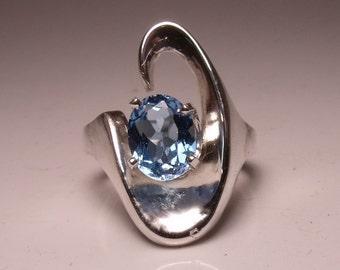 Blue Topaz Oval in Sterling Silver Ring RF459