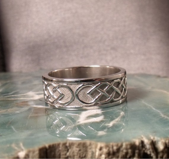8mm Sterling Silver Celtic Wedding Band RF454