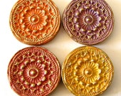 Hand painted clay magnets, set of four bas relief magnets