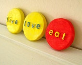 live love eat magnets, 3D word magnets