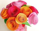 Bubblegum pink and tangerine flower bouquet . handmade paper flowers . bulk quantity discount wholesale for your wedding party event