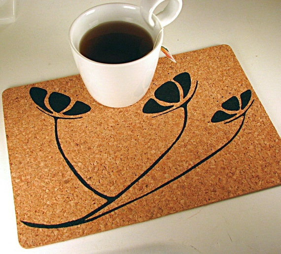Floral cork placemats , Flora Ink table place mat . bulk qty discount
