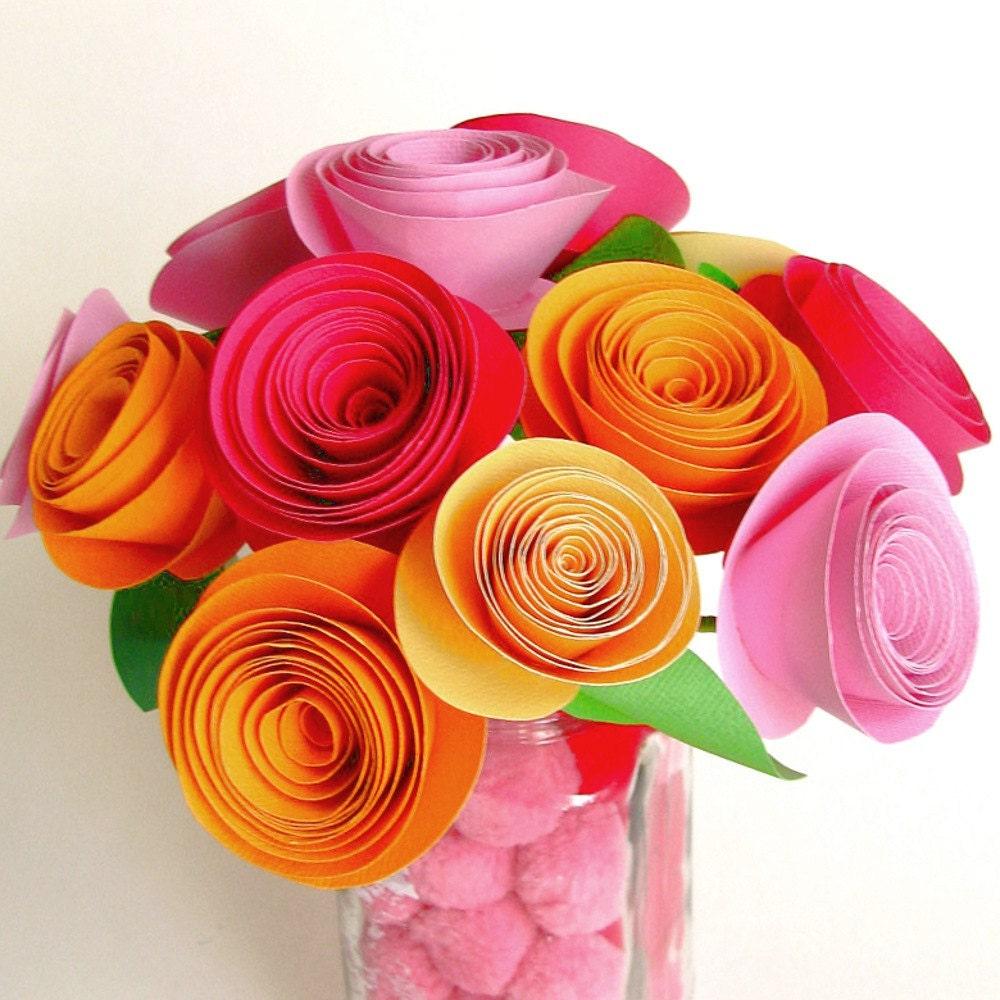 diy paper flower bouquet   pink and orange   large flower kit