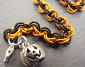 Halloween Orange and Black Bracelet Jack O' Lantern Charm, Anodized Aluminum Chainmail Bracelet