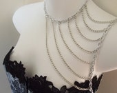 Silver Aluminum Shoulder Harness Necklace, Body Harness, Body Chain Overlay (Made to order)