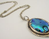 Unique Classic Blue Paua Shell Pendant, Shell Necklace, Silver Necklace, LAST ONE - JSWMetalWorks