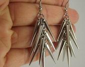 Shiny Silver Large Spike Earrings, Silver Earrings