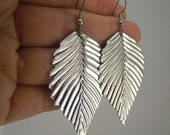Shiny Silver Leaf Earrings, Silver Earrings