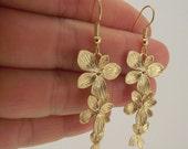 Cascading Flower Earrings, Gold Earrings