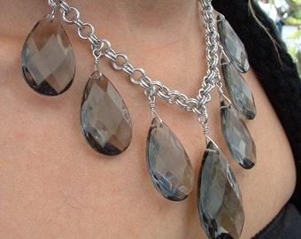 Vintage Chandelier Drop Necklace, Chainmail Necklace, Aluminum Necklace