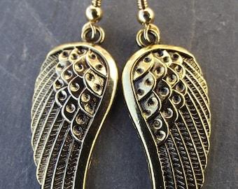 Golden Guardian Angel Wing Earrings
