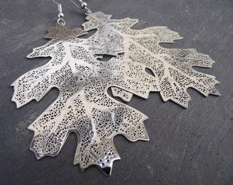 Large Silver Oak Leaf Skeleton Earrings, Silver Earrings, Woodland Jewelry
