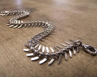 Fishbone Bracelet, Unique Silver Bracelet, Skeleton, Spine