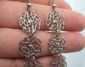 Cascading Silver Filigree Earrings, Long Earrings, Silver Earrings