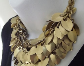 Dramatic Golden Scale Statement Necklace, Scalemail, Scalemaille, Aluminum Chainmail Necklace