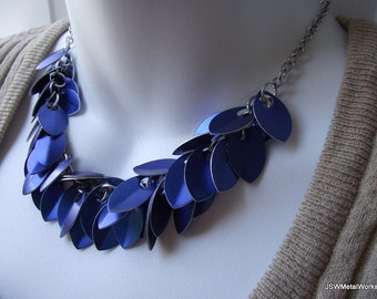 Blue Small Scale Shag Necklace, Anodized Aluminum Necklace, Scalemail Necklace, Chainmail