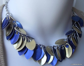 Blue and Gold Small Scale Shag Necklace, Anodized Aluminum Scalemail, Chainmail