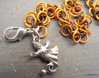 Halloween Orange and Black Bracelet, Antiqued Silver Boo Ghost Charm, Anodized Aluminum Chainmail Bracelet