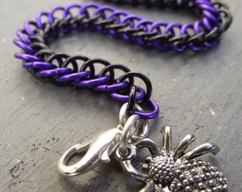 Halloween Spider Purple and Black Bracelet, Half Persian Anodized Aluminum Chainmail