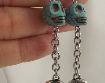 Skull and Wing Earrings, Turquoise Skulls Earrings, Silver Earrings