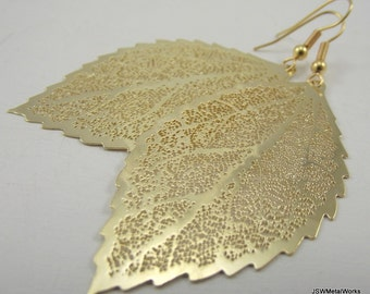 Medium Golden Leaf Skeleton Earrings, Gold Earrings, Gift for Her, Gift under 20, Fall Wedding Jewelry
