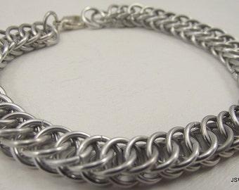 Half Persian Chainmaille Bracelet (Medium), Aluminum Bracelet, Chainmail Bracelet