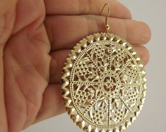 Large Ornate Golden Medallion Earrings, Gold Earrings