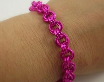 Pink Mobius Chainmail Bracelet, Aluminum Bracelet, Chainmaille Bracelet