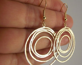 Gold Loopy Earrings, Gold Earrings, Organic Circles