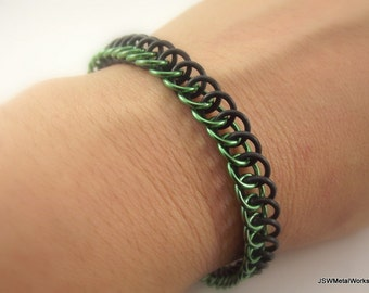 Green and Black Stretch Bracelet, Aluminum and Rubber Chainmail Bracelet, Chainmaille
