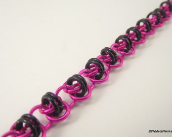 Pink And Black Aluminum Chainmail Bracelet, Chainmaille Bracelet, Aluminum Bracelet