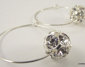 Crystal Ball Earrings, Silver Hoop Earrings, Silver Earrings