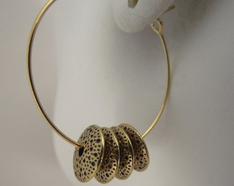 Golden Bead Gold Hoop Earrings, Gold Earrings