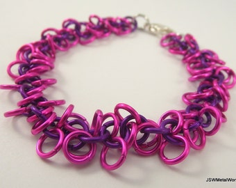 Pink and Violet Shag Chainmaille Bracelet, Chainmail Bracelet, Aluminum Bracelet