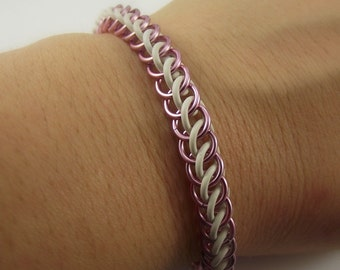 Pink and White Stretch Chainmaille Bracelet, Aluminum Bracelet, Chainmail Bracelet