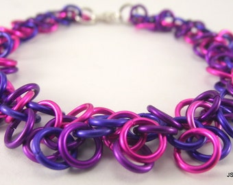 Pink, Violet and Purple Chainmaille Bracelet, Aluminum Chainmail Bracelet