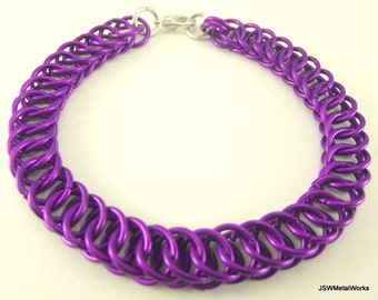 Violet Half Persian Chainmaille Bracelet,  Aluminum Bracelet, Chainmail Bracelet